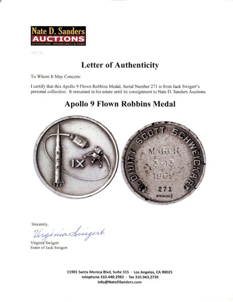 Jack Swigert's Personally Owned Apollo 9 Flown Robbins Medal -- Serial #271