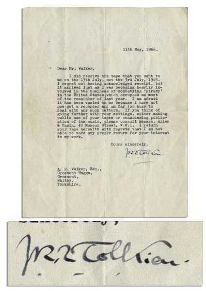 J.R.R. Tolkien Typed Letter Signed Discussing Piracy of His Works -- ''...I was becoming heavily involved in the business of combating 'piracy' in the United States...''