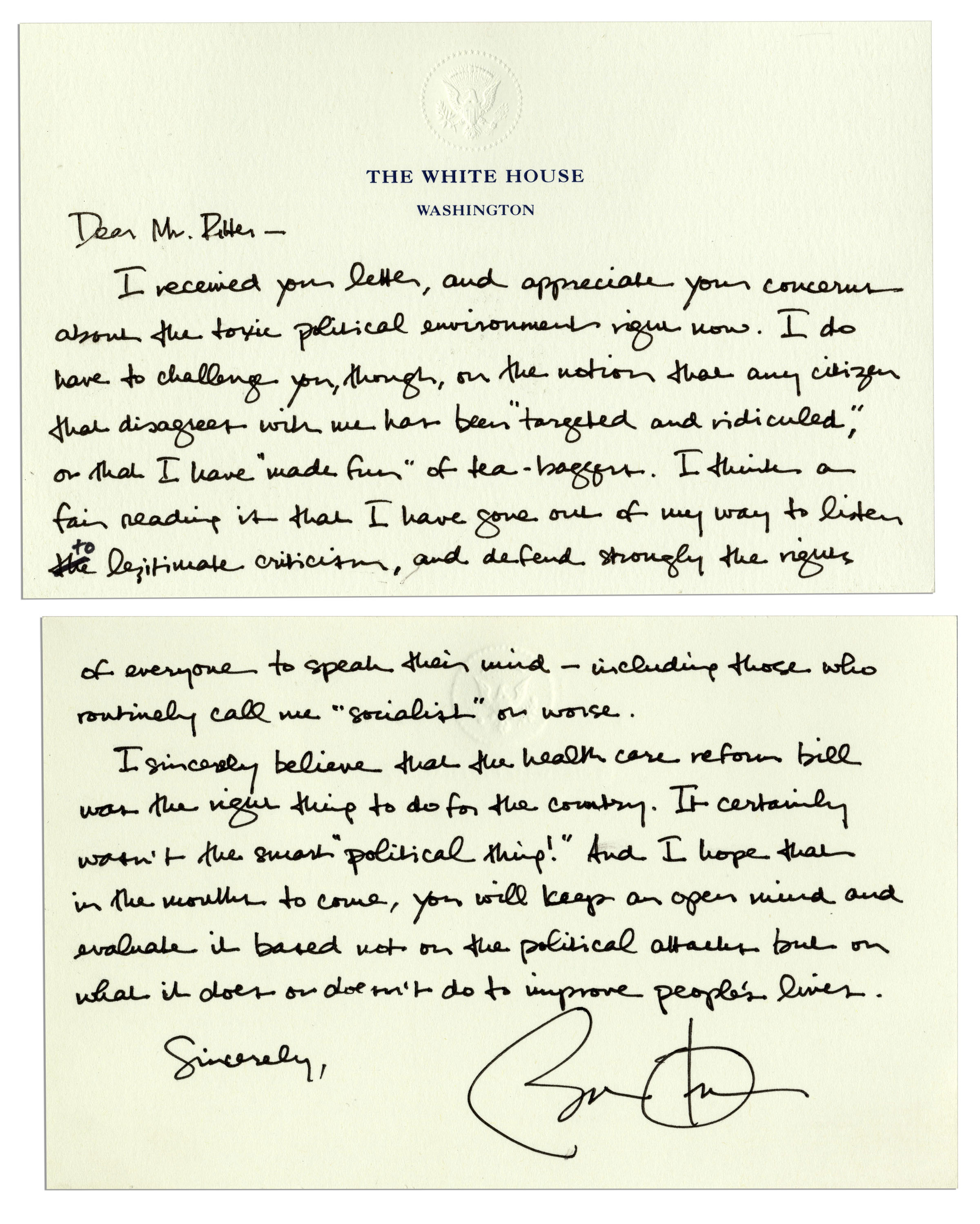 First on ABC: George W. Bush's Inauguration Day Letter to Barack Obama