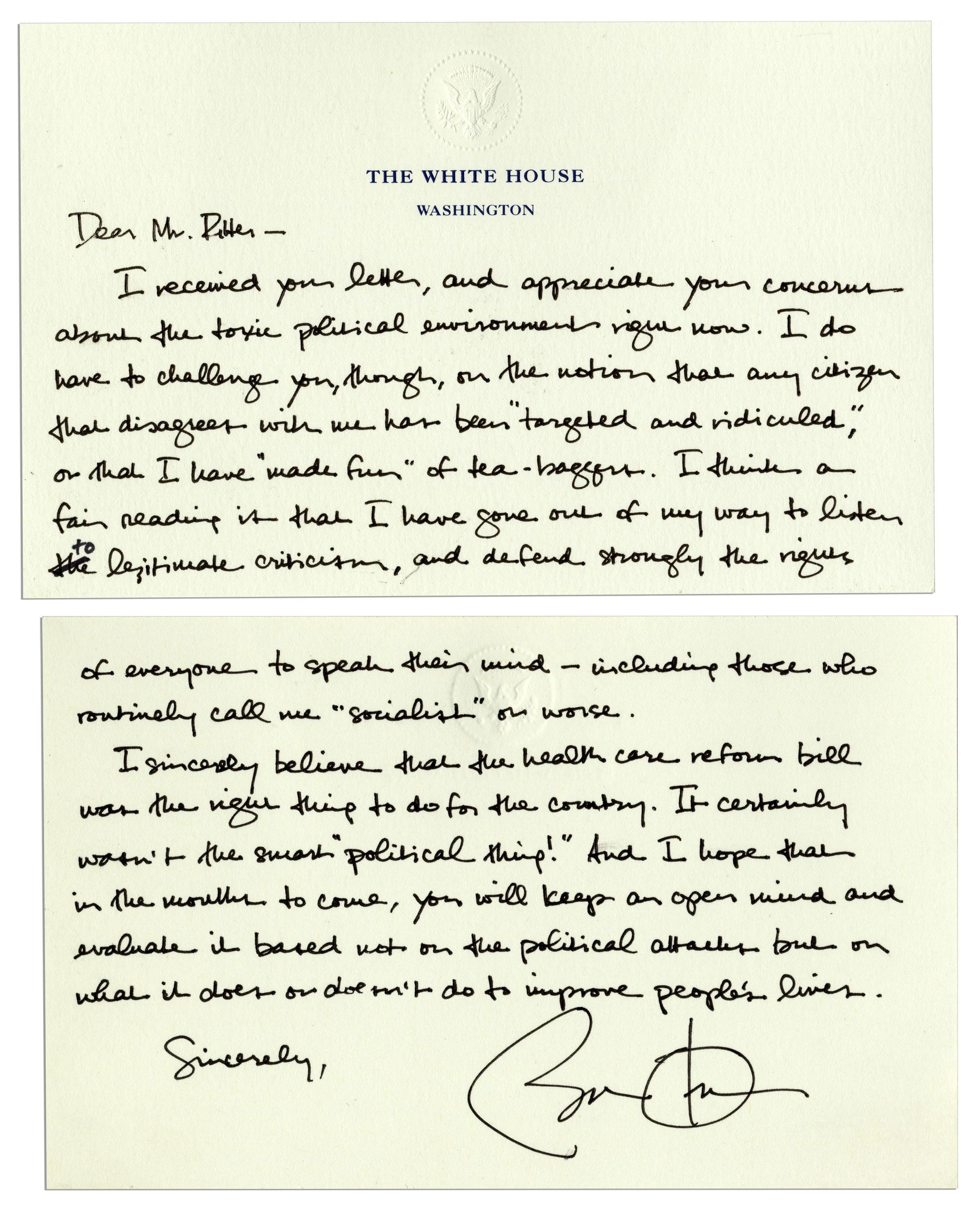 Letter to barack obama