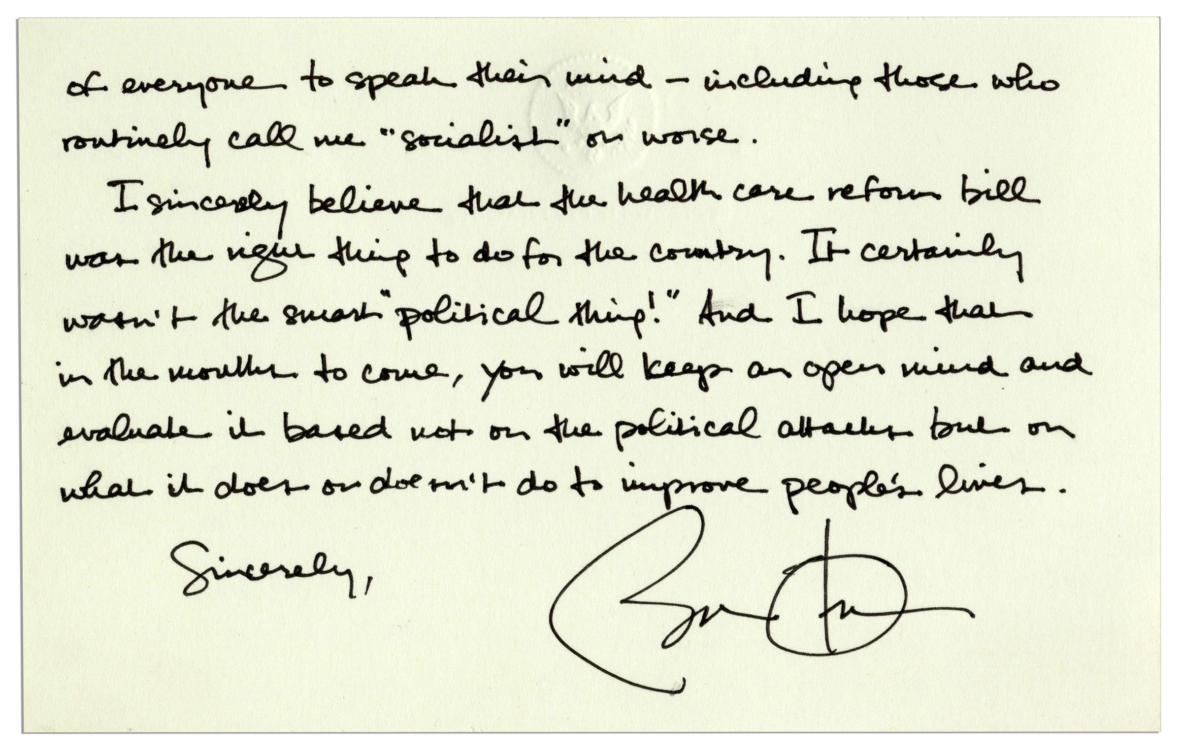Lot detail barack obama autograph letter signed as president barack obama autograph letter signed as president defending his legacy spiritdancerdesigns Image collections