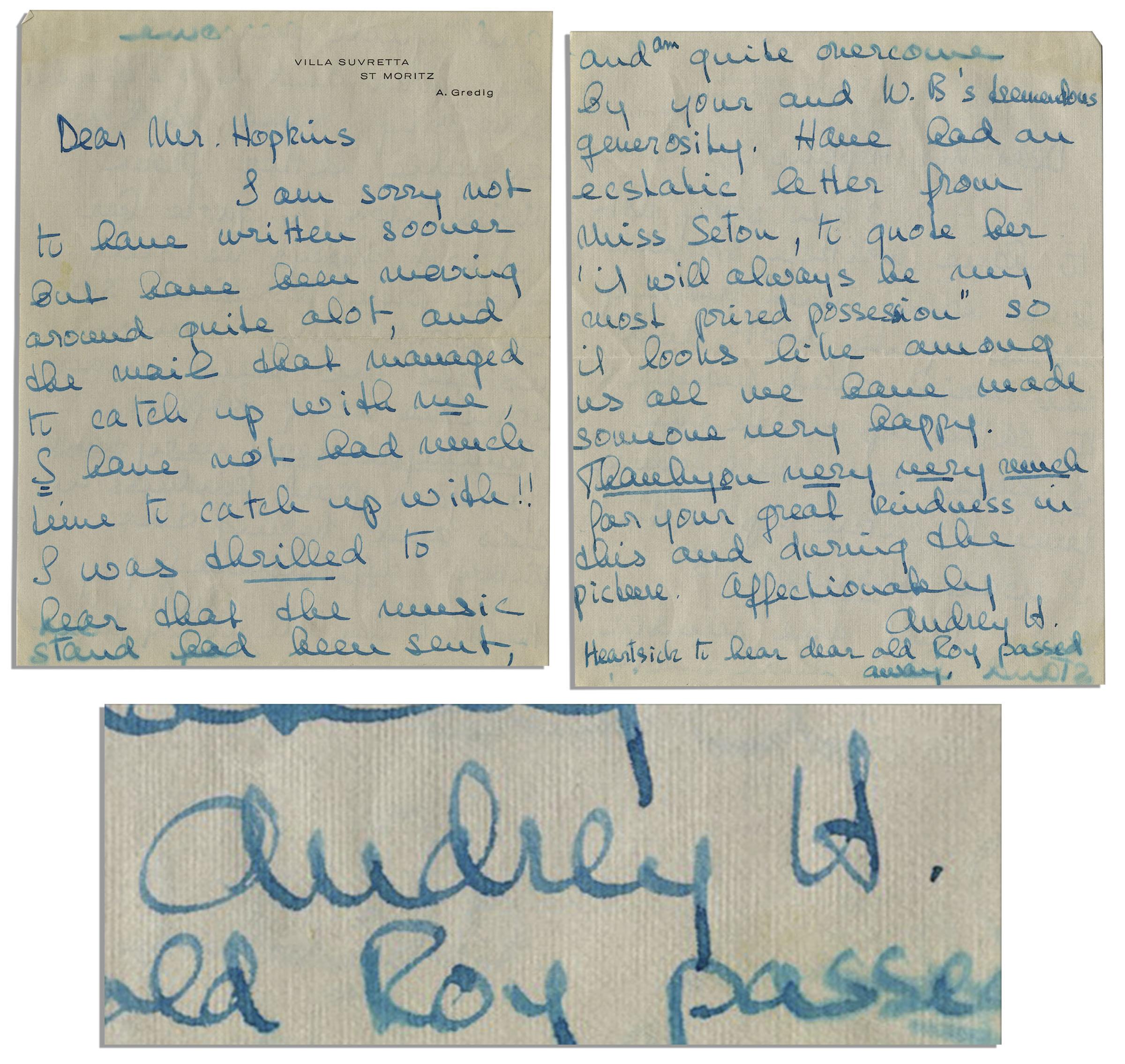 Lot detail audrey hepburn autograph letter signed to my fair audrey hepburn autograph letter signed to my fair lady set designer aljukfo Gallery