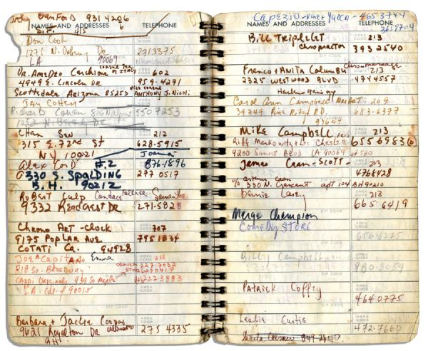 Sammy Davis Jr.'s Personal Address Book Containing the Names & Addresses of Over 100 of His Celebrity Friends -- Michael Jackson, Muhammad Ali, Liz Taylor, Barbra Streisand, Jay Leno & More