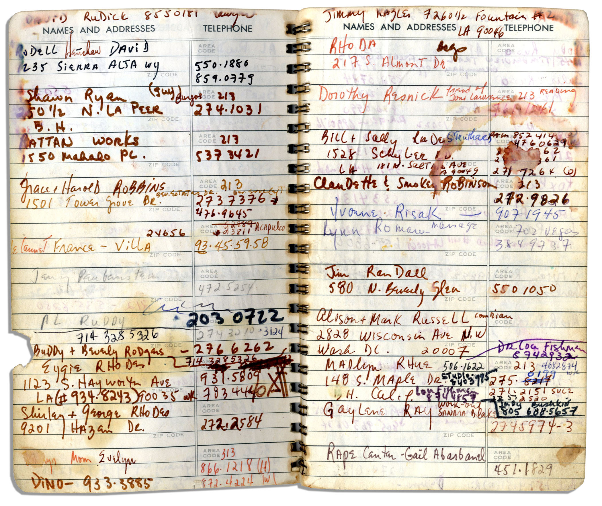 lot detail sammy davis jr s personal address book containing the