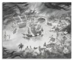 Pirates of the Caribbean Conceptual Drawing Designed for the 2006 Renovation of the Popular Disneyland Ride