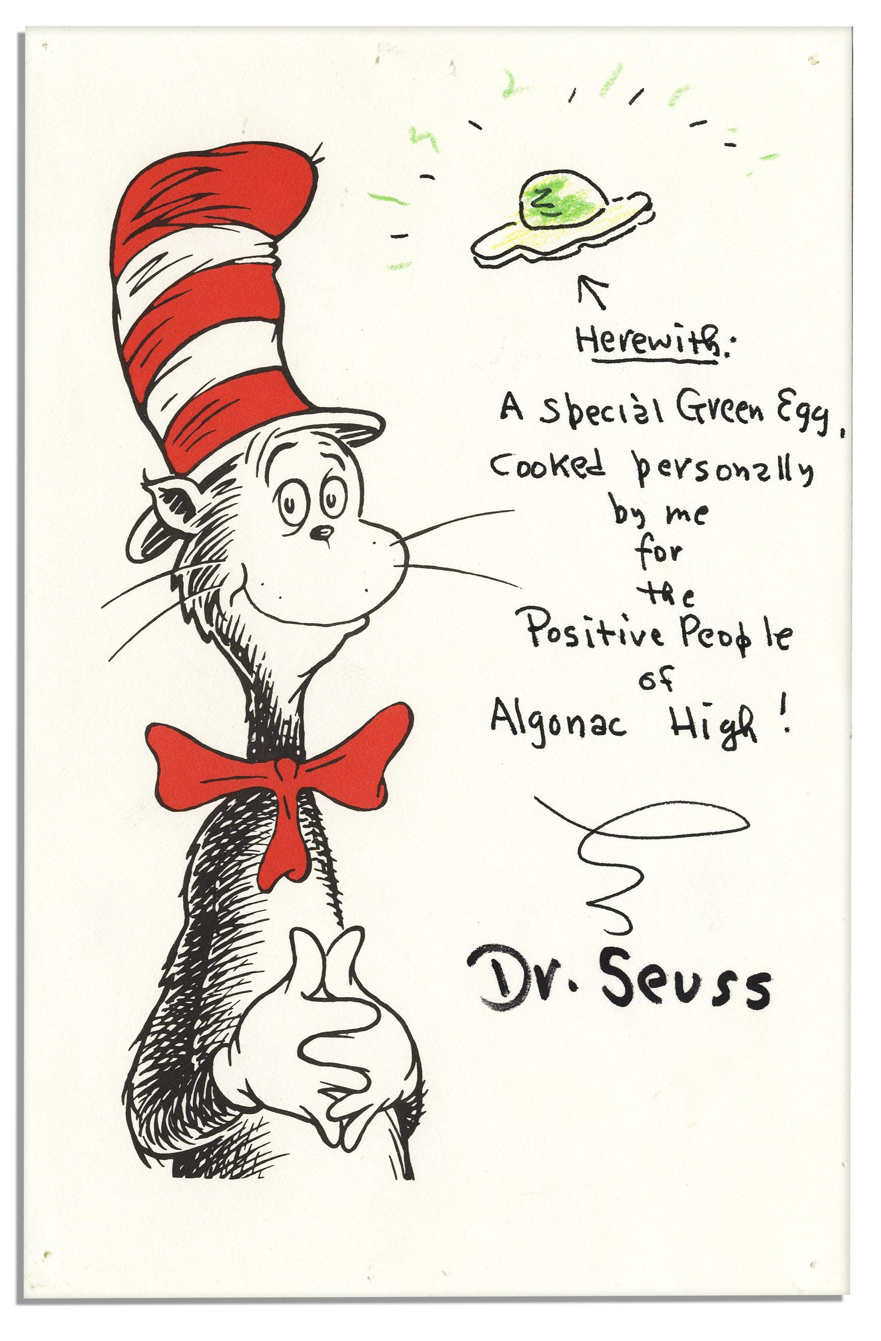 Dr. Seuss Autograph Dr. Seuss Original Art Signed -- Depicting His Famous Green Egg From ''Green Eggs and Ham''
