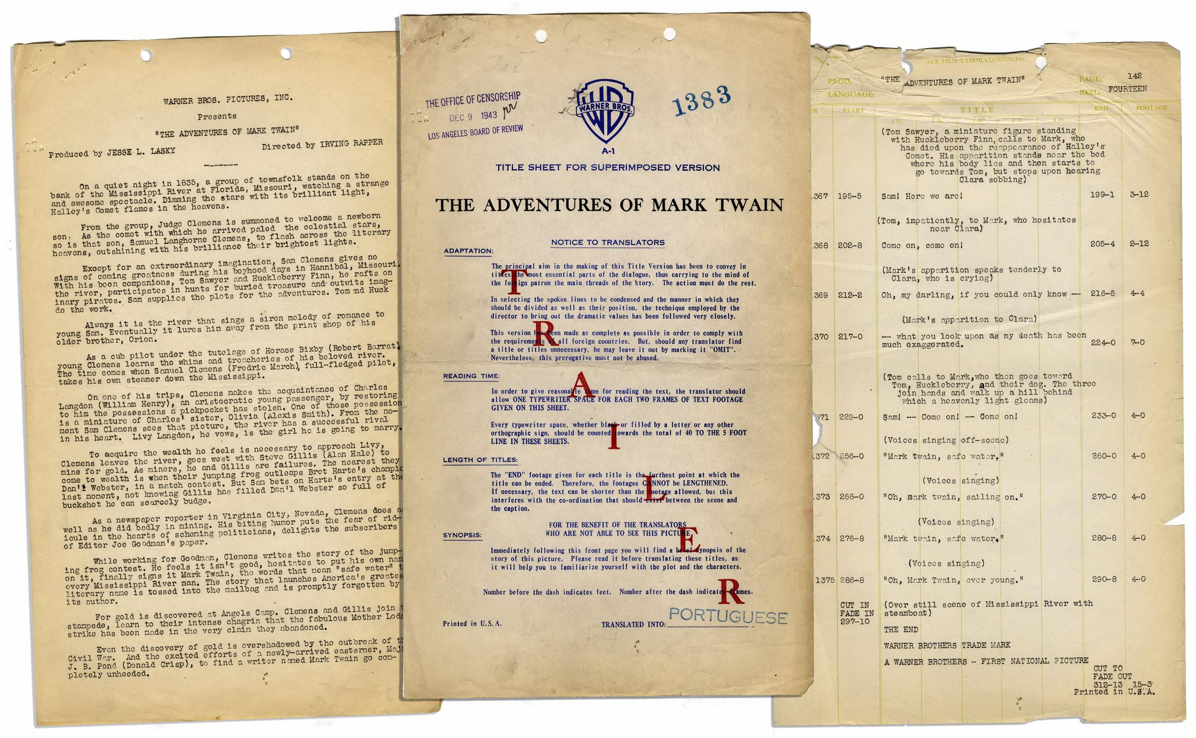 Lot Detail - Vintage Script For 1944 Warner Brothers Biopic