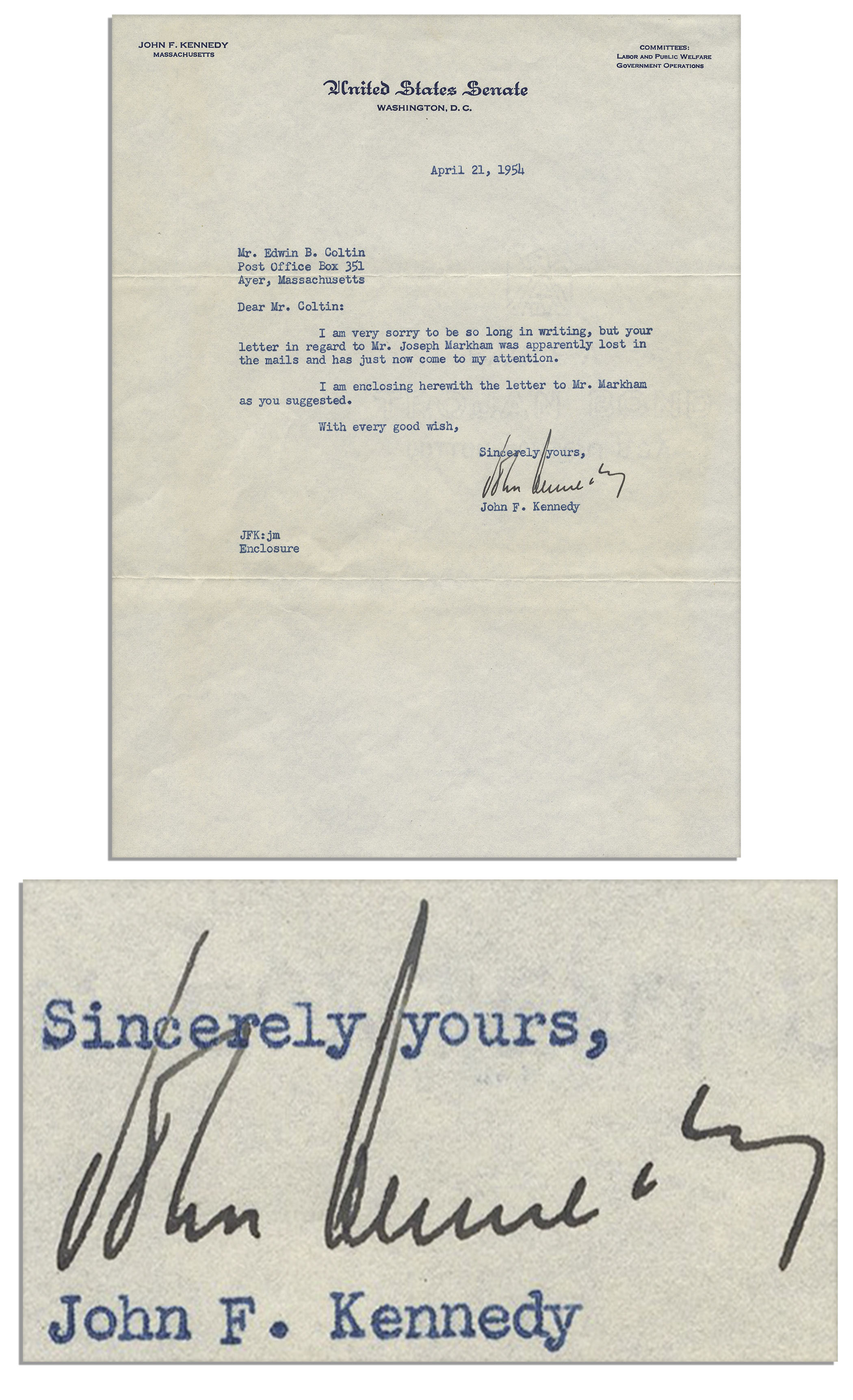 John F Kennedy Autograph John F. Kennedy Typed Letter Signed From 1954 as a Young Congressman -- With PSA/DNA COA