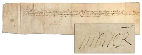 Mary Queen of Scots Document Signed During the Throckmorton Plot to Kill Queen Elizabeth I -- Scarce