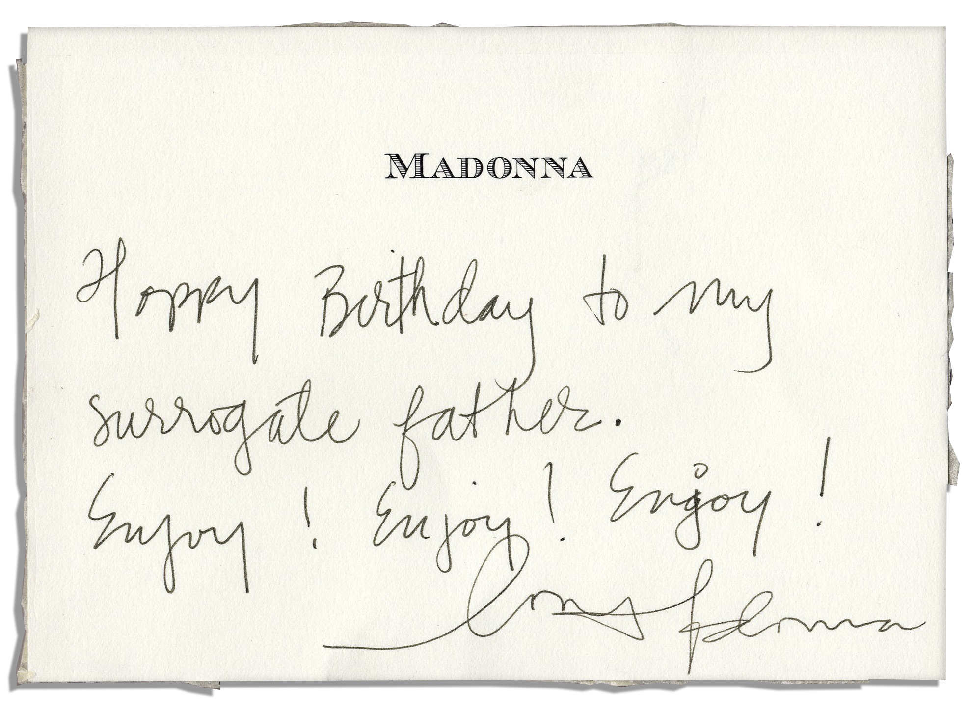 Lot detail madonna birthday card signed happy birthday to my madonna birthday card signed happy birthday to my surrogate father bookmarktalkfo Image collections