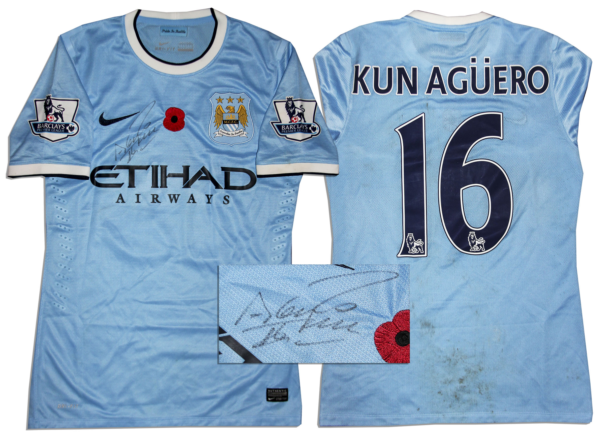 brand new 6aade 5556b Lot Detail - Aguero Match Worn Manchester City Shirt Signed