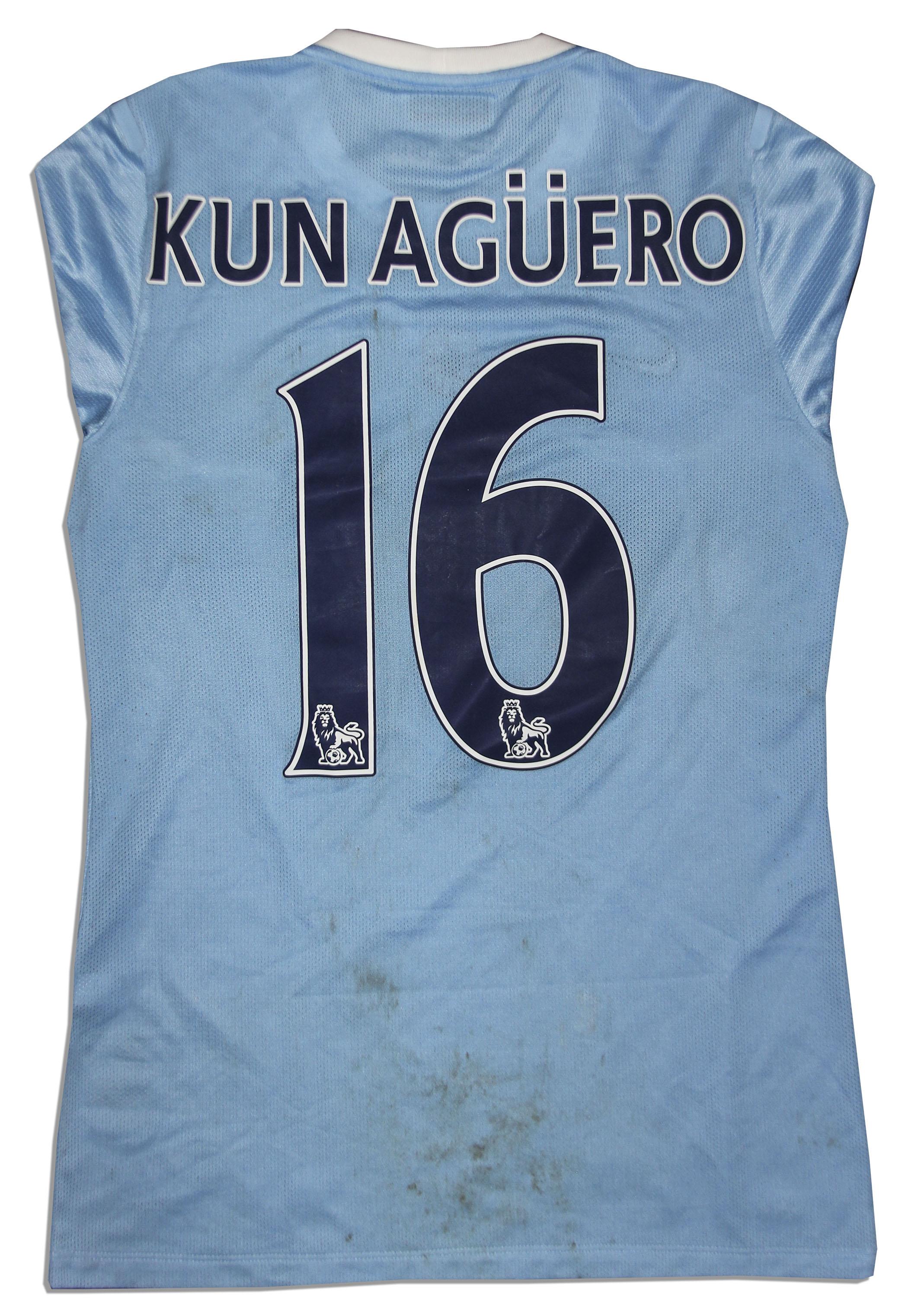 brand new 4c9ad 2ceb2 Lot Detail - Aguero Match Worn Manchester City Shirt Signed
