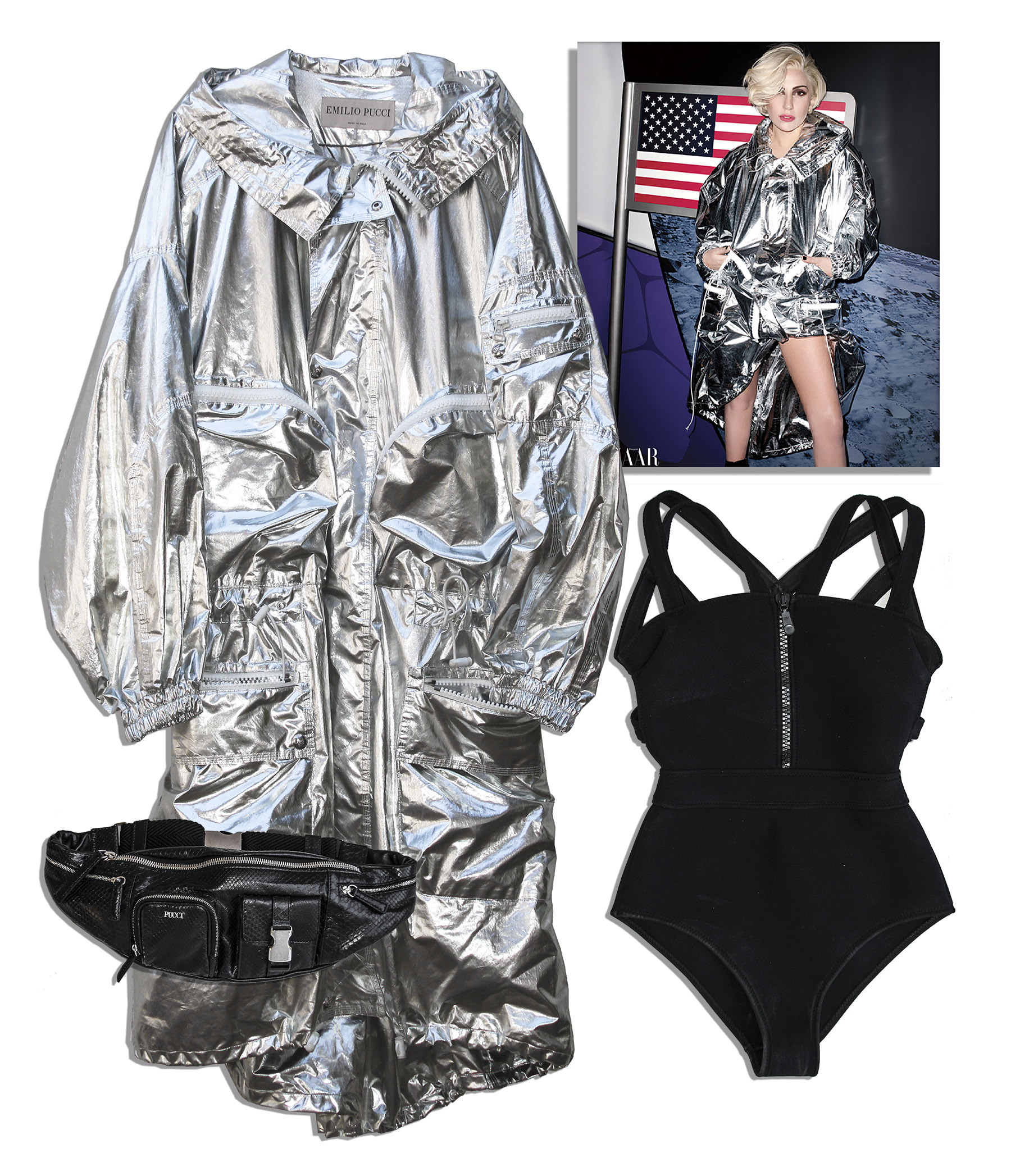 Lady Gaga costume Lady Gaga Worn Emilio Pucci Coat, Pucci Bodysuit & Pucci Python Leather Bag From Her Harper's Bazaar Cover Shoot
