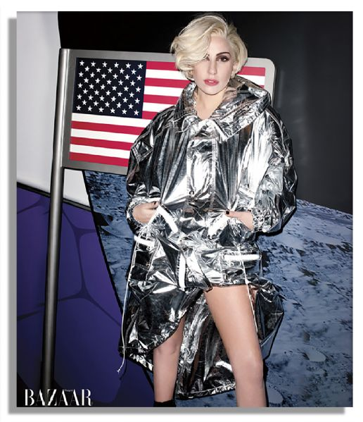 Lady Gaga Worn Emilio Pucci Coat, Pucci Bodysuit & Pucci Python Leather Bag From Her Harper's Bazaar Cover Shoot