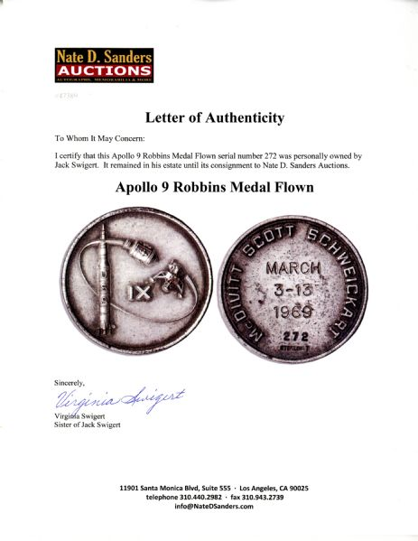 Jack Swigert's Personally Owned Apollo 9 Flown Robbins Medal -- Serial #272