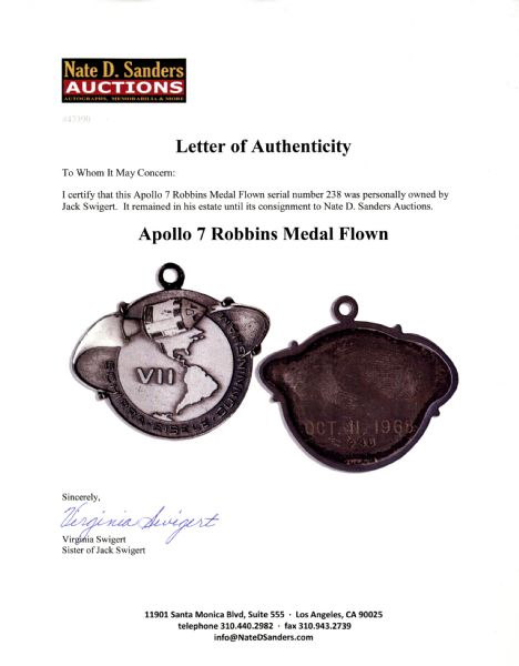 Jack Swigert's Personally Owned Apollo 7 Flown Robbins Medal, Serial #238