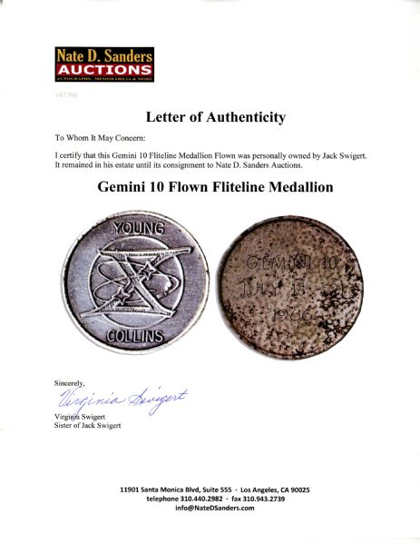 Jack Swigert Personally Owned Gemini 10 Fliteline Medallion Flown