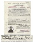 Greta Garbos Immigration & Naturalization Papers Signed by Her -- With Twice-Signed Passport Photo Affixed to the Papers