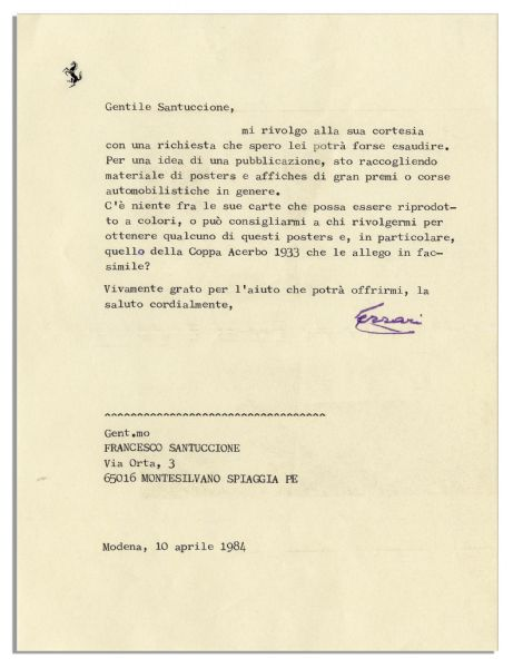 Enzo Ferrari Typed Letters Signed -- Lot of 7 -- ''...an exciting era of motor car sports which I remember with so much pleasure...''