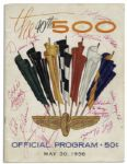 Indianapolis 500 Program From 1956 Signed by Eddie Russo, Pat OConnor, Paul Russo, Gene Hartley, Al Keller, Jimmy Daywalt, Bob Christie, Duane Carter, Mike Magill & J.C. Agajanian