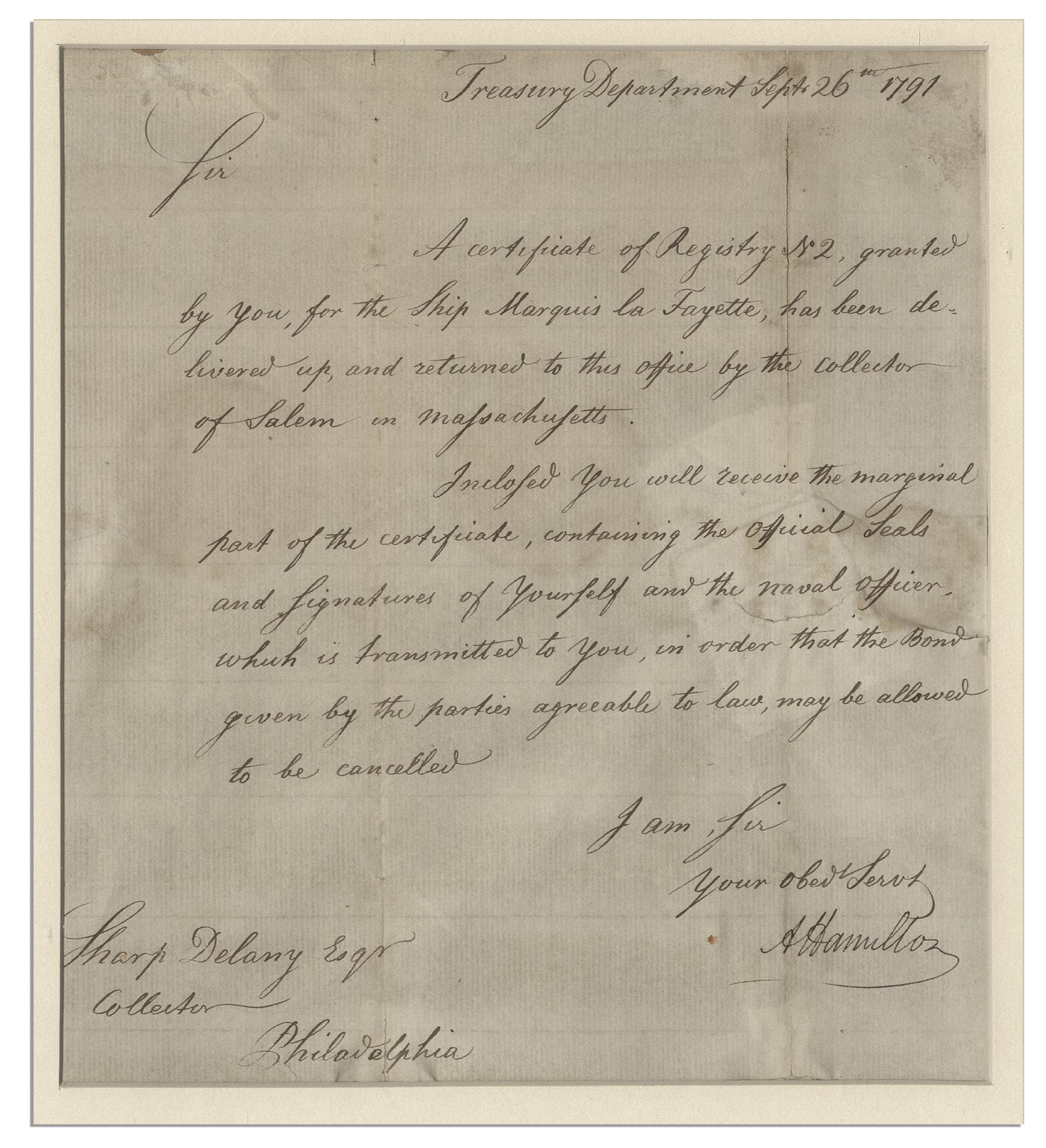 Lot Detail Nicely Framed Alexander Hamilton 1791 Autograph