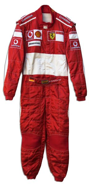 Michael Schumacher Worn Race-Suit From The 2006 British Grand Prix -- Where he Defended His Title as World Champion But Lost to Fernando Alonso