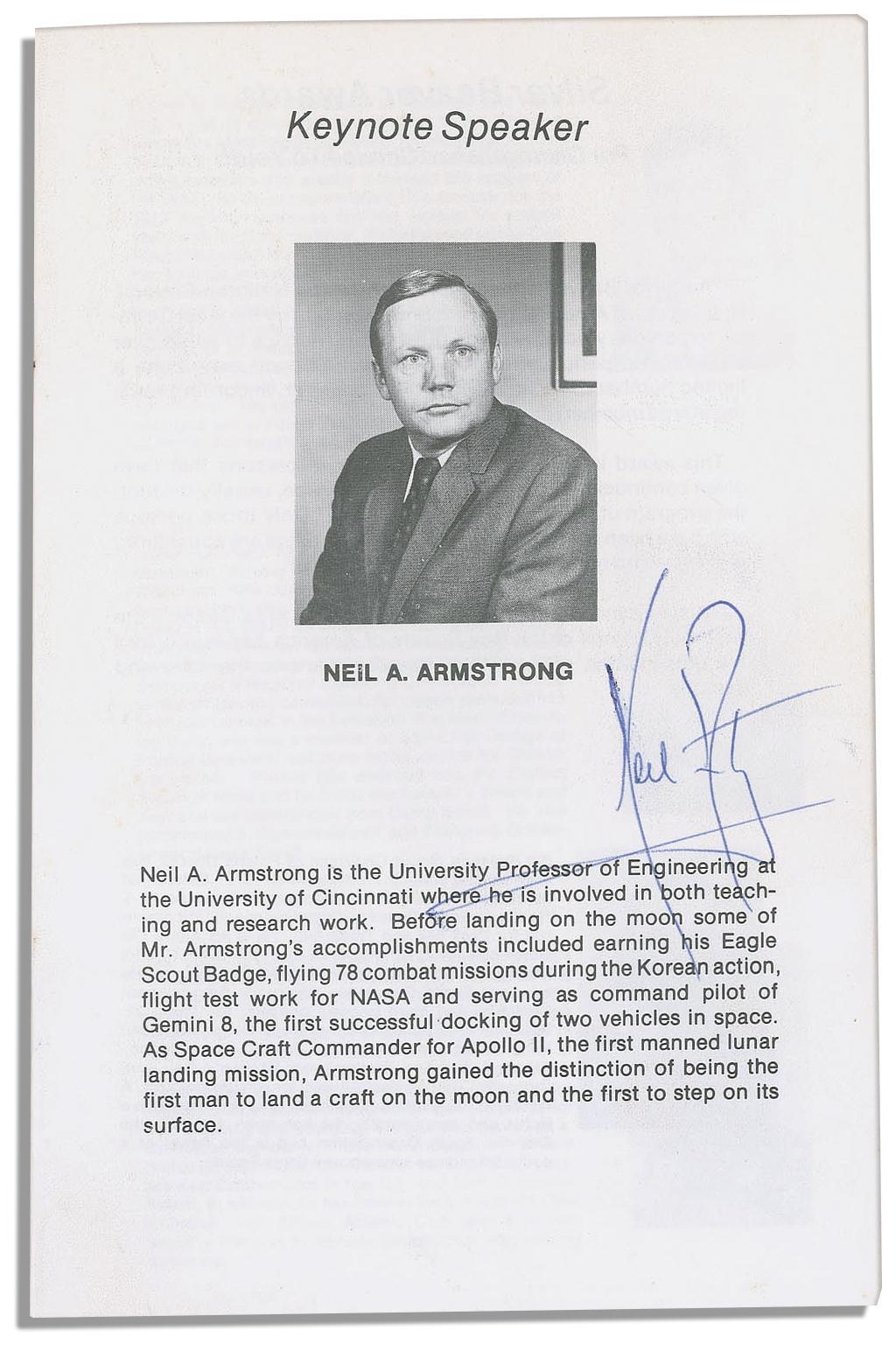 Lot Detail - Neil Armstrong Program Signed -- From His ...