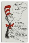 Dr. Seuss Autograph Letter Signed on Cat in the Hat Stationery -- ...Audrey is now recuperating fast from the grim experience of having a brain tumor removed. (successfully!)...