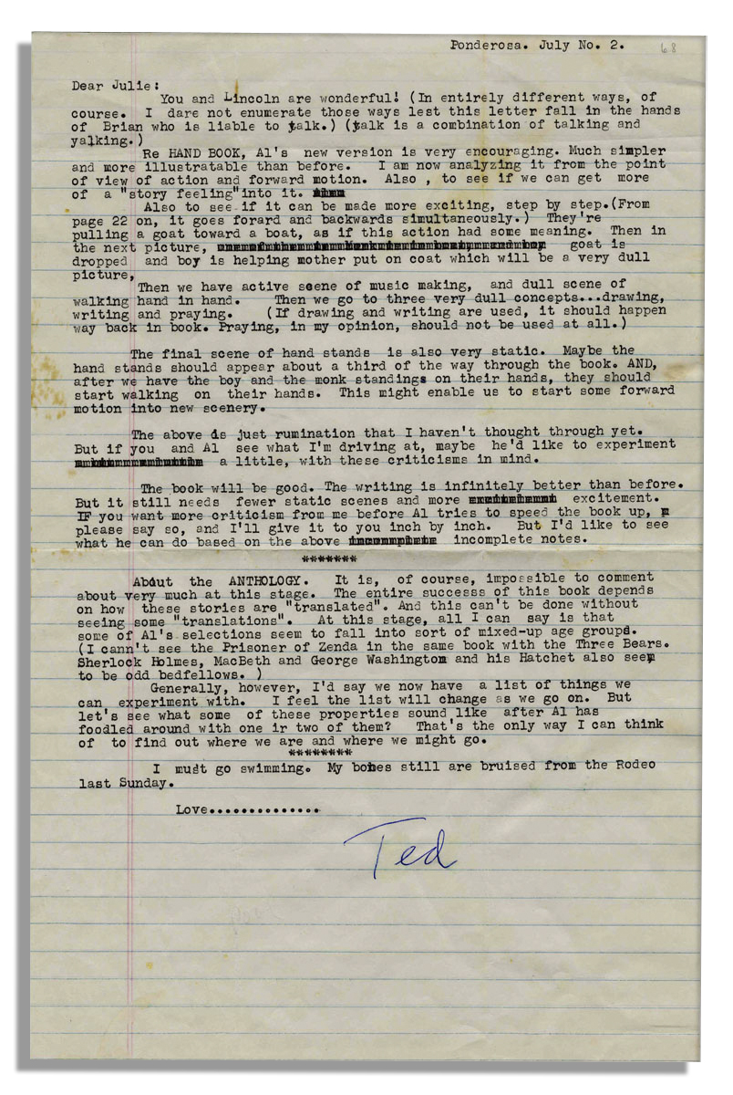 Dr. Seuss Autograph Dr. Seuss Typed Letter Signed With Literary Content -- Seuss Critiques Two Books at Length
