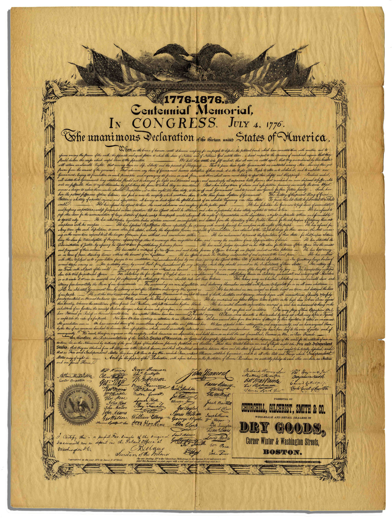 It is a picture of Punchy Printable Copy of the Declaration of Independence