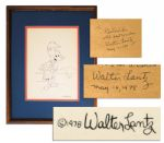 Walter Lantz Signed Sketch of Woody Woodpecker as a Hula Dancer