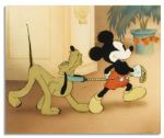 Disney Cel From the 1939 Short Film Society Dog Show -- Depicting Two of Disneys Most Iconic Characters, Mickey Mouse and Pluto -- Featuring Mickey in His Older Character Design