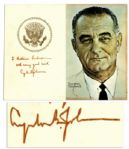 Lyndon B. Johnson Signed Portrait by Himself, Done by Norman Rockwell --  Measures 14 x 11