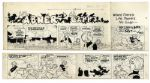 Lil Abner Sunday Strip From 10 April 1966 Featuring Miss Scrubwell in a Political-Themed Situation -- Hand-Drawn by Capp -- 29.25 x 15 on Two Separated Strips -- Very Good