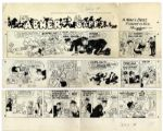 Lil Abner Sunday Strip Hand-Drawn & Signed by Al Capp From 12 July 1968 -- Featuring Mammy & Pappy -- in Three Segments, Largest 29 x 10.25 -- Toning & White Outs by Capp, Very Good