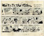 Lil Abner Sunday Strip Hand-Drawn by Al Capp From 11 June 1967 -- Spoofing Ultra-Thin Models -- 29 x 23 on Three Separated Strips -- Very Good
