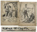 Early Sketch by Al Capp, Creator of Lil Abner -- Hand-Drawn & Signed With His Full Jewish Surname Caplin