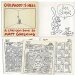 Simpsons Creator Matt Groening Signed First Edition of His Book Childhood Is Hell -- To Which He Adds a Large Hand Drawn Sketch of His Protagonist