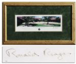 Ronald Reagan Signed Lithograph of His Presidential Library