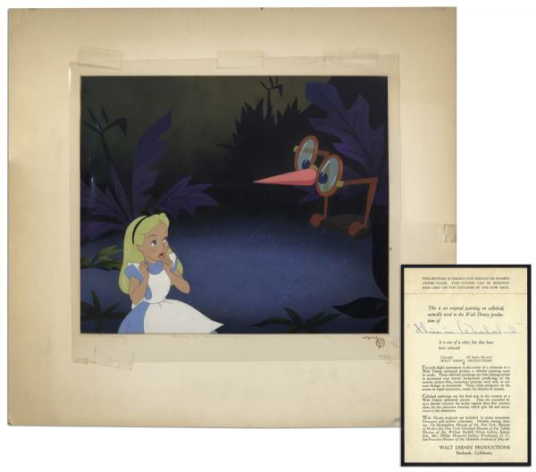 Ray Bradbury Personally Owned Disney Animation Cel From ''Alice in Wonderland'' -- Alice & The Living Glasses