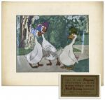 Ray Bradbury Owned Disney Cel From The Aristocats of Abigail & Amelia Gabbe With Uncle Waldo -- With Disney COA Sticker to Verso -- Matted to 14 x 12 -- Near Fine -- COA From Estate