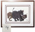 Ray Bradbury Owned Cel From Disneys Jungle Book -- Trio of Hathis Elephants -- With Disney Certification Stamp -- Matted & Framed to 20.5 x 16.75 -- Near Fine -- COA From Estate
