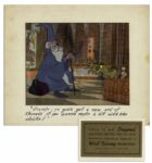 Ray Bradbury Owned Disney Cel From The Sword in the Stone -- Featuring Merlin & His Owl Archimedes -- Measures 14 x 12 -- Near Fine -- With Disney COA on Verso & COA From Estate