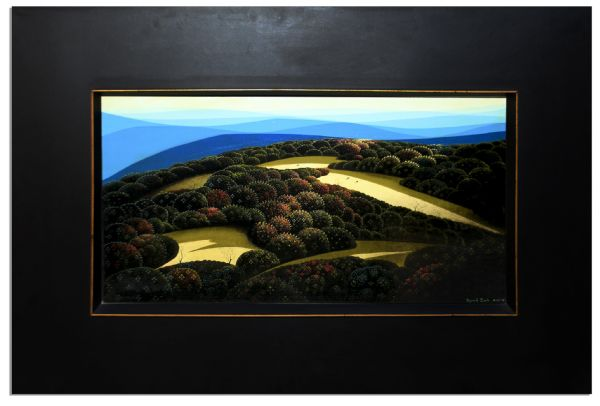 Eyvind Earle Large Oil Painting From Ray Bradbury's Personal Estate