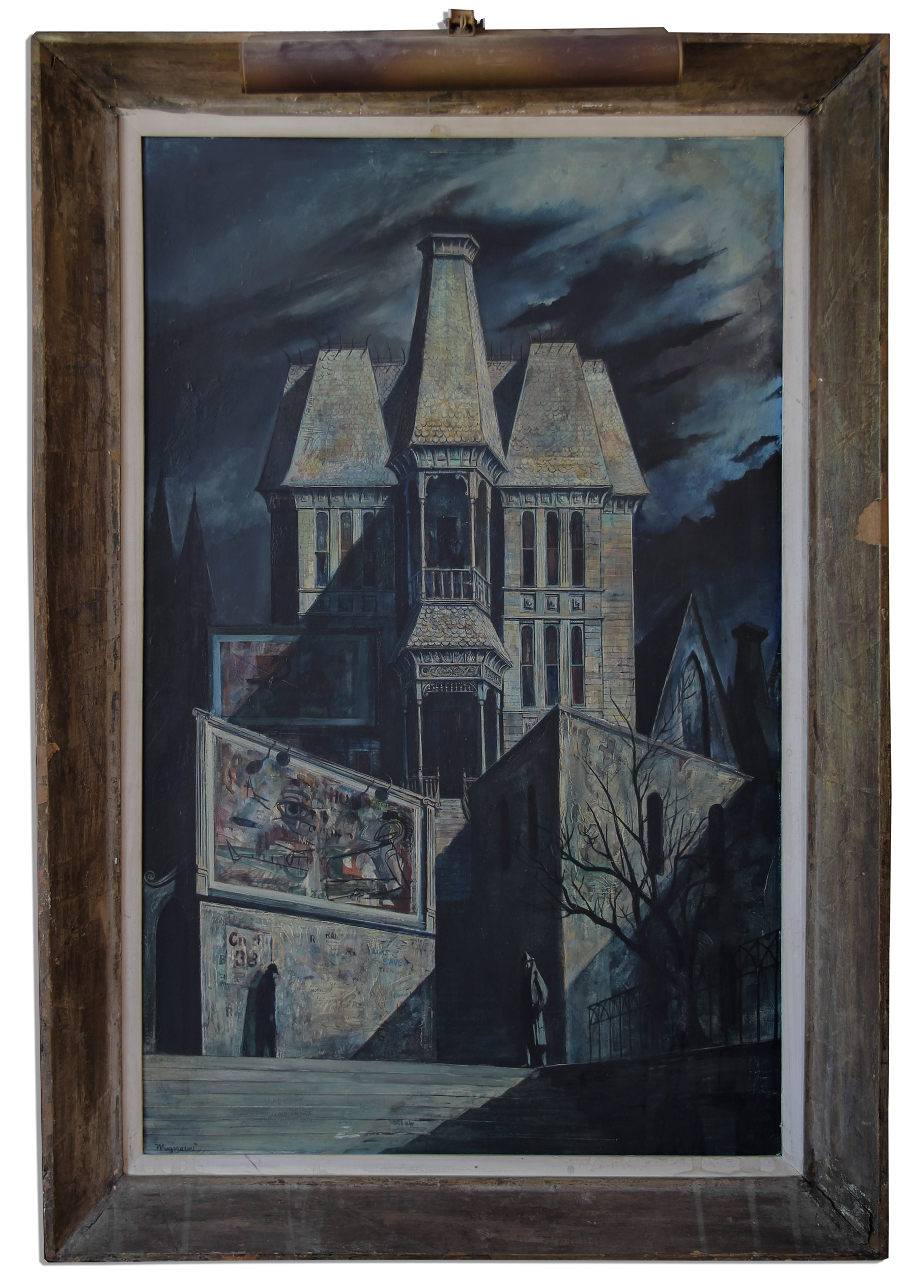 Ray Bradbury Personally Owned Modern Gothic Oil Painting By Joseph Mugnaini