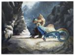 "Ray Bradbury Personally Owned Painting of a Dragon Engaged in Battle -- Creatures From ""7th Voyage of Sinbad"""