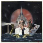 Ray Bradbury Owned Art -- Mixed Media Piece Depicting Bradbury Himself Surrounded by Iconography From His Works