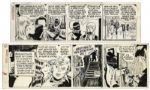 Ray Bradbury Personally Owned Pair of Steve Canyon Comic Strips by Milton Caniff -- Field Enterprises Stickers From 1977 & 1979 -- Larger Strip Measures 23 x 7.25 -- Very Good