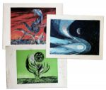 Ray Bradbury Personally Owned Lot of 3 Mugnaini Prints From Ten Views of the Moon Series -- Signed by Mugnaini & Bradbury