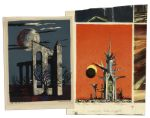 Pair of Joseph Mugnaini Moonscape Prints for Ray Bradbury -- One Is for His Publication, The Martian Chronicles
